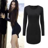 ทบทวน ที่สุด Gamiss Women S*xy Cotton Blends Bodycon Dress Black Intl