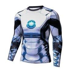 ขาย ซื้อ Iron Man 3D แน่นกระชับเสื้อผ้าสำหรับผู้ชายและผู้หญิงเสื้อยืดกีฬาออกกำลังกายแขนยาว สีรูปภาพ