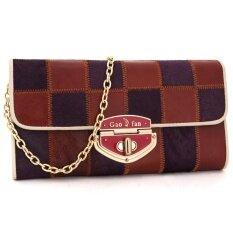 ซื้อ Gao Fan High Quality Women Long Wallets Genuine Cow Leather Purses Purple Intl ใหม่
