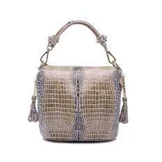 ขาย Genuine Leather Handbag Women Crocodile Pattern Shoulder Messenger Bags Beige Intl Unbranded Generic