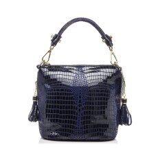 ขาย Genuine Leather Handbag Women Crocodile Pattern Shoulder Messenger Bags Deep Blue Intl จีน ถูก