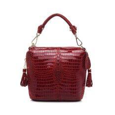 ราคา กระเป๋าถือหนังวัวแท้รูปแบบจระเข้ไหล่ร่อซู้ลกระเป๋าสีแดง สนามบินนานาชาติ เป็นต้นฉบับ