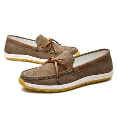 Genuine Leather Men Shoes Soft Moccasins Fashion Men Flats Comfy Casual Driving Boat Shoes Intl ใหม่ล่าสุด