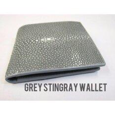 ซื้อ Eight Shop กระเป๋าสตางค์ กระเป๋าเงิน หนังปลากระเบนขัด สีเทา Genuine Stingray Polished Leather Grey Bifold Wallet ถูก กรุงเทพมหานคร