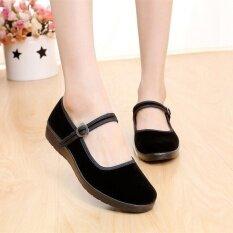 ขาย George Store Hot Sell New Women Lady Chinese Mary Jane Ballerina Work Velvet Shoes Cotton Sole Flats Black Intl George Store เป็นต้นฉบับ
