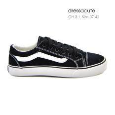 ขาย รองเท้าผ้าใบแบบผูกเชือก เส้นหยักขาว เดินด้ายคู่ รุ่น Gh 3 สีดำ ออนไลน์