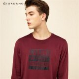 ราคา Giordano Men Printed Letter Crewneck Tee 99097604 Red Intl ใหม่