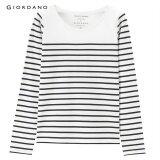 ซื้อ Giordano Women Cotton Striped Long Sleeve Tee 05326607 White Black Stripe Intl ใหม่