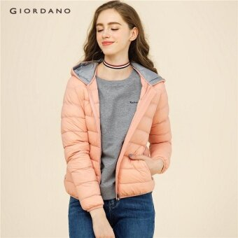 Giordano Women เครื่องซักผ้า hooded Down JACKET 13377704 สีชมพู