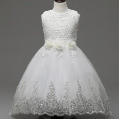 ขาย G*rl Princess Dress Wedding Bowknot Tailing Children Princess Party Formal Dress Asymmetric Hem For 4 12Y Intl จีน