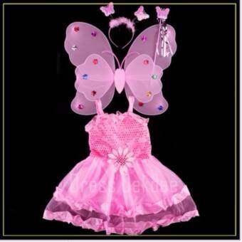Girls Dresses Princess Children ชุดนางฟ้า ชุดผีเสื้อ เดรสเด็กผู้หญิง รุ่น Set Butterfly Angel (สีชมพู)