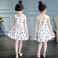 ขาย ซื้อ Girls Sweet Cotton Princess Dresses Cherry Flowers Dresses White Intl ใน สมุทรปราการ