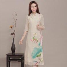 ราคา หญิงจีนแบบดั้งเดิมที่หรูหราสง่างามซิปชุดที่ปรับปรุงใหม่ชุดจีนกลาง Cheongsam Han ชุดกระโปรง Qipao นานาชาติ