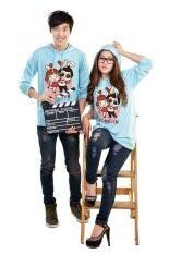 ราคา Goingto เสื้อฮู้ดคู่รักแขนยาว ลาย Love You Forever 2 ตัว สีฟ้า Goingto ออนไลน์