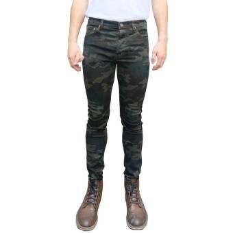 Golden Zebra Jeans กางเกงลายทหารสีเขียว ผ้ายืดขาเดฟ