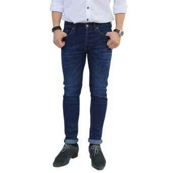 Golden Zebra Jeans กางเกงยีนส์ขาเดฟ ผ้ายืดสีฟ้าผ่านการฟอกให้เกิดลวดลาย-