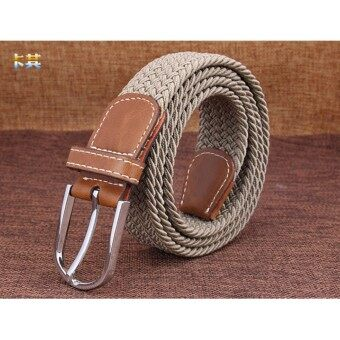 Good Braided Stretch Belt Canvas Fabric Woven Elastic Casual Belt for Men and Women