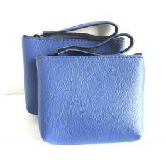 goods24 กระเป๋าใบเล็ํก กระเป๋าใส่เหรียญ กระเป๋าใส่บัตรสีน้ำเงิน มีสายหิ้ว 1 คู่ By Goods24.