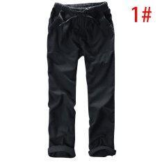 ราคา Gracefulvara Men Summer Casual Pants Natural Cotton Linen Pants White Linen Elastic Waist Straight Pants Intl Gracefulvara เป็นต้นฉบับ