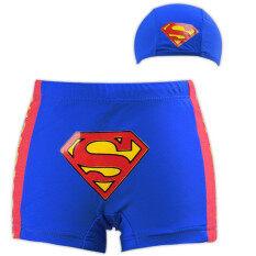 Grandwish เด็กชาย Superman ชุดว่ายน้ำและชุดว่ายน้ำถ้วย 3 ครั้ง - 10 ครั้ง (สีฟ้า) -