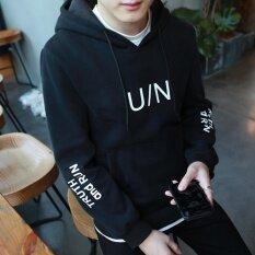 ซื้อ Grandwish ผู้ชายรูปแบบแฟชั่นเกาหลีฮู้ดกับกระเป๋า M 3Xl สีดำ