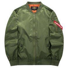 ส่วนลด Grandwish Men นักบินแจ็คเก็ตแจ็คเก็ตเสื้อสีบริสุทธิ์ Plus ขนาด S 6Xl Army Green