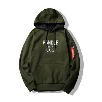 Grandwish ผู้ชายเสื้อกันหนาวพร้อมกระเป๋าฮู้ดพลัสขนาด M-4XL (กองทัพสีเขียว) - สนามบินนานาชาติเสื้อผ้าแฟชั่นเสื้อกันหนาวเสื้อแจ็คเก็ต-