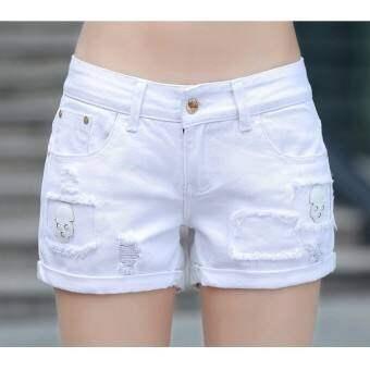Grandwish ผู้หญิงพิมพ์การ์ตูน Ripped หลุมกางเกงขาสั้น Hemming 26-32 (สีขาว) - นานาชาติ-