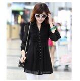 ขาย ซื้อ Grandwish เสื้อชีฟองเสื้อหญิงคอวีขนาดใหญ่ M 5Xl สีดำ