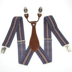 Grey Striped Men S Adjustable Clip On Elastic Suspenders Women S Braces Bd609 ใน จีน