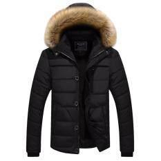 H Jacket เสื้อโค้ทผู้ชาย รุ่นหนาบุซับขนแต่งฮู้ดเฟอร์ถอดได้ ใหม่ล่าสุด
