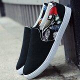 ขาย Ji Ji Mu รองเท้าลำลองผู้ชายพื้นเรียบผ้าแคนวาส H16 ดอกไม้สีดำ H16 ดอกไม้สีดำ ถูก ใน ฮ่องกง