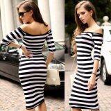 Half Sleeve Strapless Stripe Dresses Black White เป็นต้นฉบับ