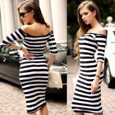ซื้อ Half Sleeve Strapless Stripe Dresses Black White Unbranded Generic ถูก