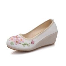 ราคา เหมาะกับสุภาพสตรีหญิงเดี่ยวรองเท้าเก่าปักกิ่งรองเท้าเสื้อผ้าจีนส้นสูง สีขาว ราคาถูกที่สุด