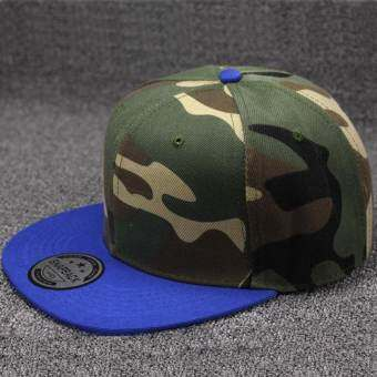 Hang - Qiao หมวก Snapback พรางตัวเปล่าแบน Camo หมวกแก๊ปเบสบอลเกาหลี (สีฟ้า) - INTL