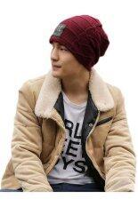 ทบทวน Hang Qiao Fashion Men Knitted Beanie Hat Skull Cap Wine Red