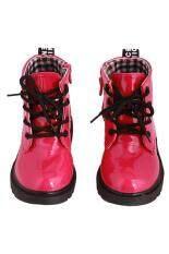ราคา Hang Qiao แฟชั่นสไตล์เด็กมาร์ตินบู๊ทส์ไม่จำกัดเพศลายสก๊อตรองเท้ารองเท้าผ้าใบพีช ออนไลน์ จีน