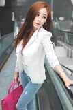 ขาย ซื้อ Hang Qiao Korean Slim Lace Casual Coat White