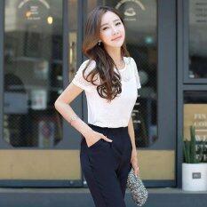 ซื้อ Hang Qiao ปักเสื้อชีฟองเสื้อแขนสั้นเสื้อ สีขาว สนามบินนานาชาติ Hang Qiao เป็นต้นฉบับ