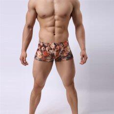 ราคา Hang Qiao ผู้ชายชุดชั้นในของนักมวยระบายอากาศได้แฟชั่นย้อนยุคพิมพ์กางเกงขาสั้นสีชมพู เป็นต้นฉบับ
