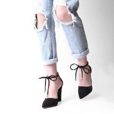 ขาย Hang Qiao Thick Heels Ankle Strap Suede Sandals High Heeled Pointed Pumps Black Intl Hang Qiao ออนไลน์