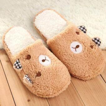 Hang-Qiao รองเท้าแตะฤดูหนาวผู้หญิงหมีฝ้ายห้องนอนอบอุ่นกำมะหยี่แบนรองเท้า (สีน้ำตาล)-สนามบินนานาชาติรองเท้าใส่บ้านรองเท้าใส่บ้านผู้หญิง-