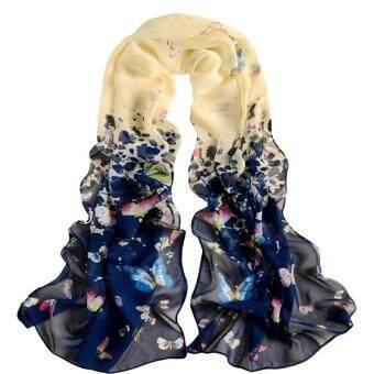 Hang-Qiao ผู้หญิงผีเสื้อพิมพ์ดอกไม้ผ้าพันคอชีฟองผ้าพันคอผ้าคลุมไหล่ (น้ำเงิน)