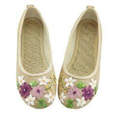 ราคา Hang Qiao ผู้หญิงดอกไม้บนผ้าฝ้ายผ้ารองเท้าสบายๆรอบนิ้วเท้ารองเท้าแบน สีเบจ นานาชาติ ราคาถูกที่สุด