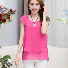ขาย ซื้อ Hang Qiao Women Loose Shirt O Neck Chiffon Short Sleeve Blouse Rose Intl ใน Thailand