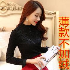 ซื้อ Hanxianer Bottoming เสื้อเกาหลีเสื้อกำมะหยี่สีดำคอสูง ส่วนบางสีดำ ถูก Thailand