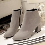 ราคา Hanyu Autumn Winter New Scrub Boots Pointed Bare Boots Female Single Boots Rough Heel Martin Boots Grey Intl จีน