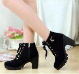 ราคา Hanyu ฤดูหนาวหญิงสาวส้นสูงหนัง Pu Martin ซิปรองเท้าบู๊ตขาสีดำ ที่สุด