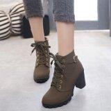 Hanyu ฤดูใบไม้ร่วงผู้หญิงฤดูหนาวเลดี้ Pu หนังส้นสูงมาร์ตินข้อเท้า Zipper บู๊ทส์รองเท้ากองทัพสีเขียว เป็นต้นฉบับ